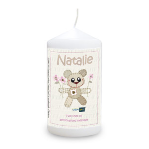 Cotton Zoo Pink Tweed the Bear Candle