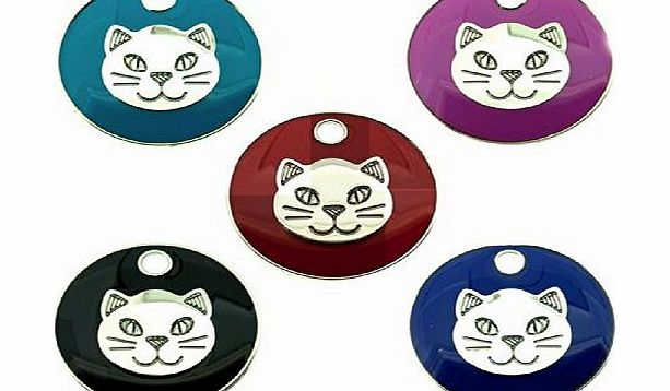 Personalised FREE Personalised Engraved 20mm Enamel Pet ID Tag Cat Face Design