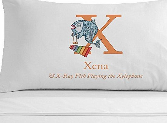 Personalised Gift Ideas X-Ray Fish playing the Xylophone Pillowcase, Childrens Name Pillowcase, Phonetic Letter X Gift