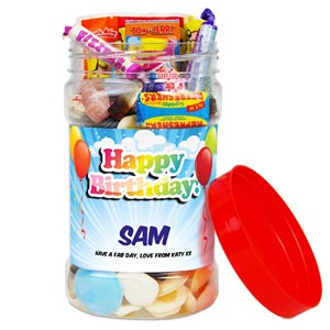 Happy Birthday Medium Retro Sweet Jar