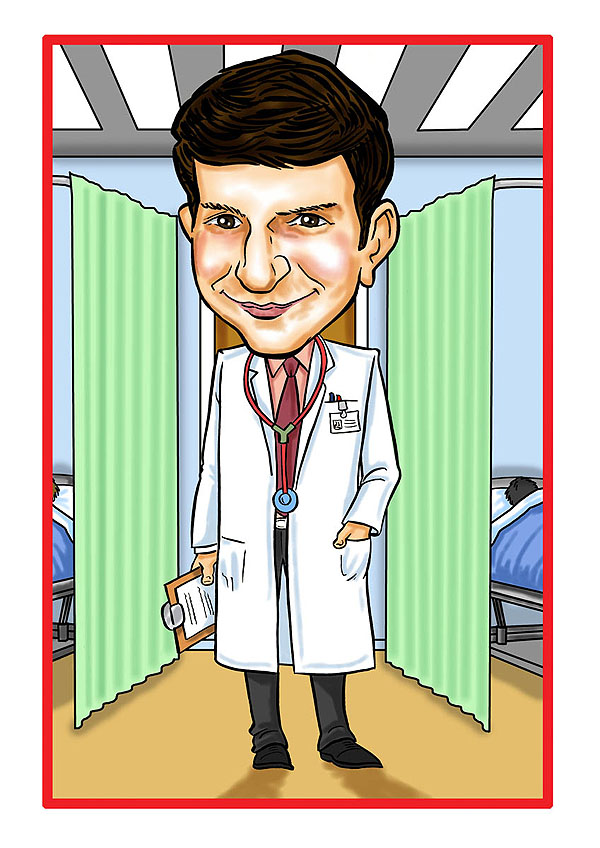 Occupation Caricatures Doctor