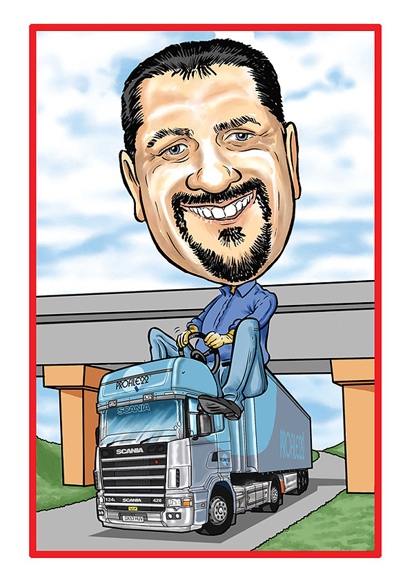 Occupation Caricatures Truck Driver