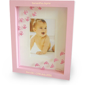 Pink Hand and Foot Print Photo Frame