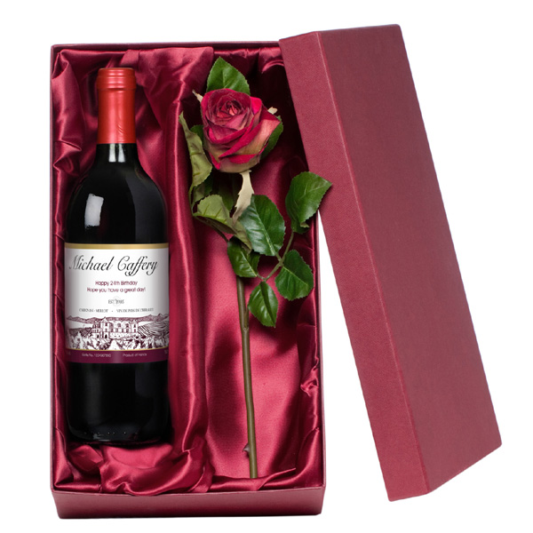 Red Wine With a Luxury Silk Rose