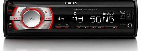 Philips CE132/12 In-Car Audio System / MP3-Player / SDHC Card Slot / VHF Tuner / USB / Black