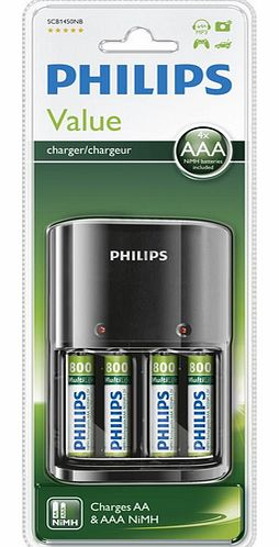 SCB1450NB - Battery charger + 4 x AAA batteries
