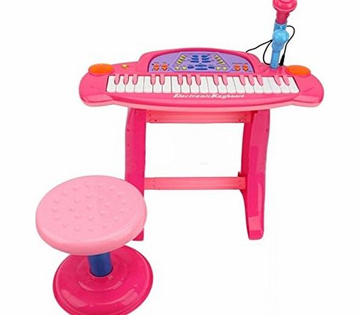 Piano Kids Childrens Electronic 36-Key Keyboard Piano with Stand Microphone amp; Stool BLUE