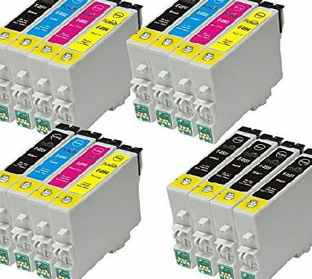 4 Sets + 4 black = 20 Compatible Epson T0555 - T0551 T0552 T0553 T0554 Printer Ink Cartridges for Epson Stylus Photo RX420 RX425 RX520 R240 R245 RX450 Printers (8x Black, 4x Cyan, 4x Magenta, 4x Yello