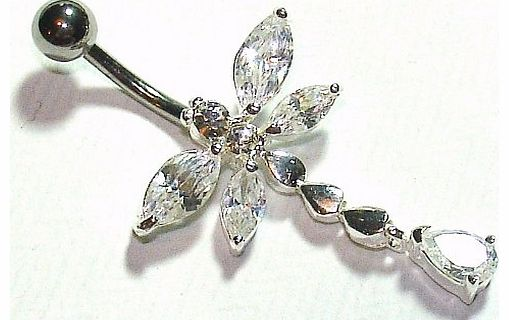 Belly Bars - Pierced & Modified - Body Jewellery - Crystal Sterling Silver Navel Bar - Butterfly & Tear Drops - White