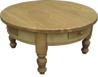 Pine coffee table round 4 drawer review compare prices for Round pine coffee table