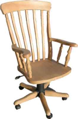 PINE OFFICE CHAIR HIGH BACK SLAT