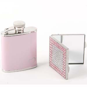 Hip Flask and Compact Mirror