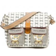 Maman & Bebe Messenger Bag - Gray Bows