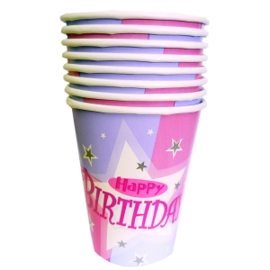 Shimmer Happy Birthday Paper Cups