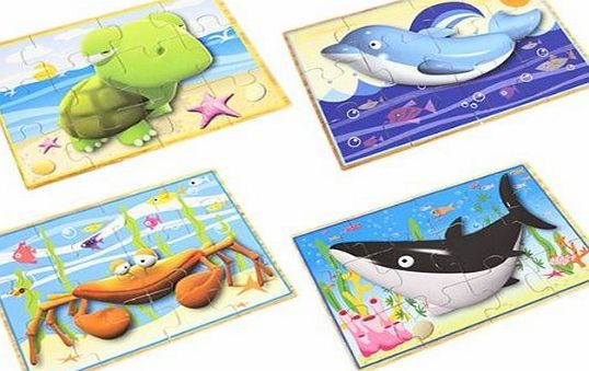 PinkWebShop Traditional Wooden Jigsaw Puzzles In Slide Top Wooden Box - Set Of 4 Ocean Animal Puzzles