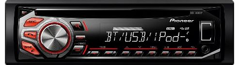 Pioneer DEH-4600BT RDS Tuner with Bluetooth, Illuminated Front USB, Aux-In and Direct iPod Control