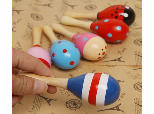 Pixnor Funny Children Kids Wooden Maraca Rattle Shaker Musical Instrument Educational Toy (Random Color Pattern)