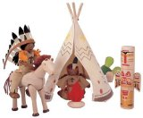 Wooden Native American Play Set with Movable Dolls