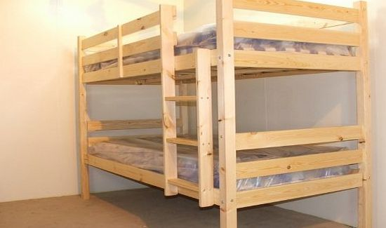 Plato Bunkbed Adult Bunkbed 3ft single solid pine bunk bed - Can be used by adults - HEAVY DUTY USE - INCLUDES 2x 15cm thick sprung mattresses