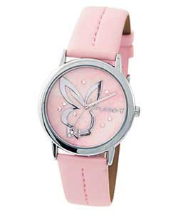 Ladies Baby Pink Bling Dial Watch