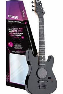 PlayRecord Stagg GAMP200-BK Junior Electric Guitar with built in Amplifier - Black