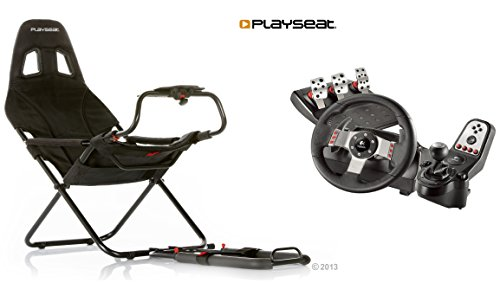 Challenge Simulator Racing Gaming Chair and Logitech G27 Steering Wheel and Pedals Set