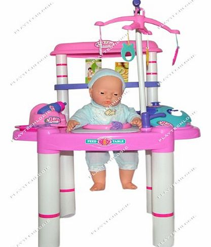 PL2015 Childrens Baby Doll Feeding Table Chair Role Play Set Toy 61cm