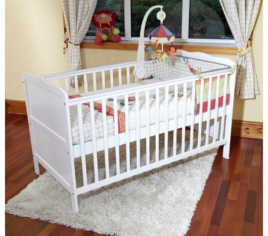 Poppys Playground  NEW BABY WHITE COT BED NURSERY FURNITURE - ISABELLA COTBED/JUNIOR BED - WHITE