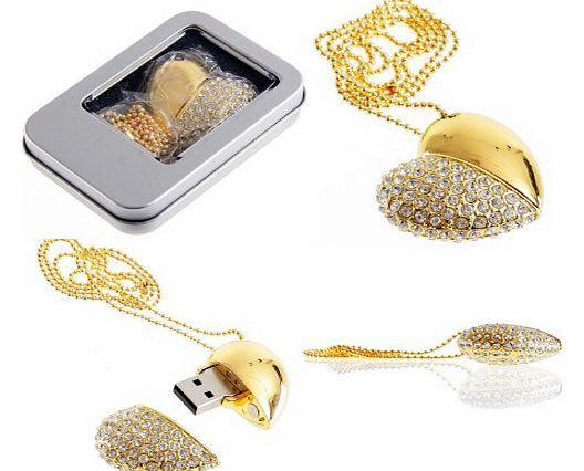 Delicate Crystal Rhinestone Decor Heart Necklace Diamond Jewerly 32GB USB2.0 Memory Stick Flash Drive with Chain-Gold