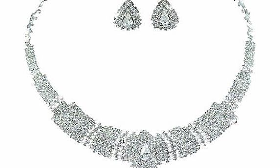 Vintage Exquisite Sparkling Choker Collarette Extravagent Bridal Wedding Crystal Necklace Earrings Jewellery Set with PreciousBags Dust Bag