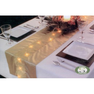 LED Lit Gold Table Runner