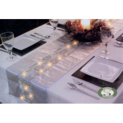LED Lit Silver Table Runner