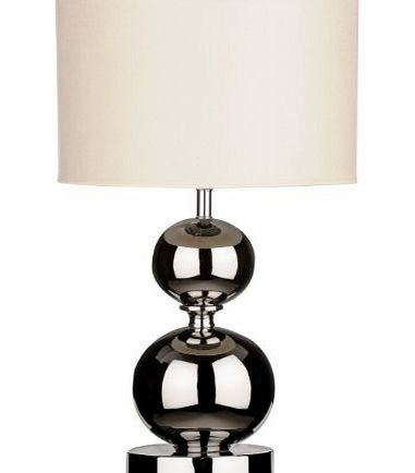 Chrome Ceramic Ball Table Lamp with Fabric Shade - Cream