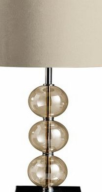 Mistro Table Lamp with 3 Amber Glass Balls Chrome Base and Cream Faux Suede Shade