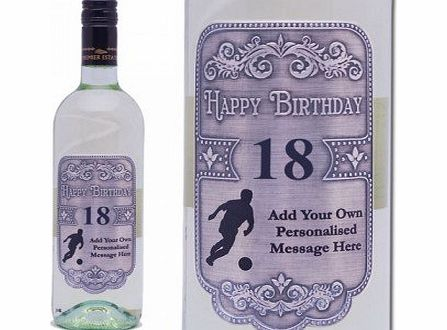 Present Vault Personalised Football White Wine for Birthday with Engraved Pewter Labels