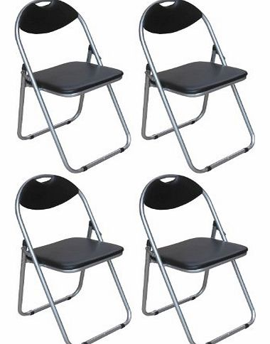 Pack of 4 Chairs - Black Padded Folding Office, Computer, Desk Chairs