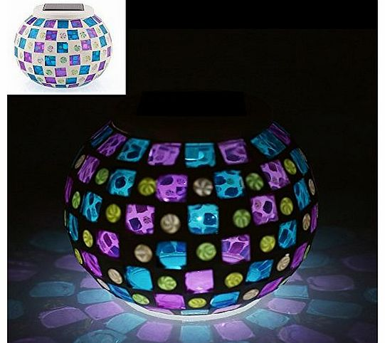 Color Changing Mosaic Garden Solar Night Light Waterproof Glass Globe Ball Table Flameless Light Lamp for Garden, Patio, Party, Yard, Balcony Outdoor/Indoor Decorations