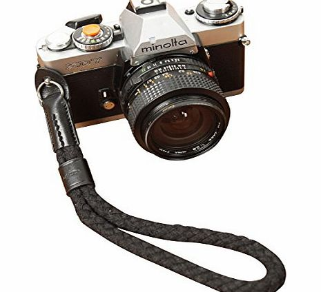 Black OneKnot Cotton/Leather Camera Wrist Strap For Sony Leica Fuji Canon Olympus Nikon Pentax Panasonic Samsung Ricoh 2060