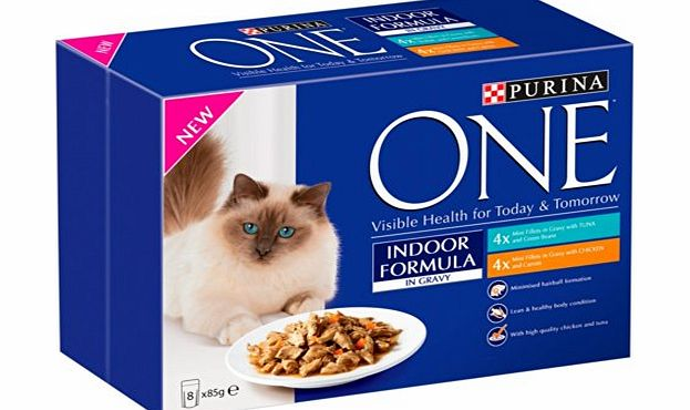 Purina ONE Indoor Wet Tuna amp; Chicken Mini Fillets in Gravy, 8 x 85 g (Pack of 5)