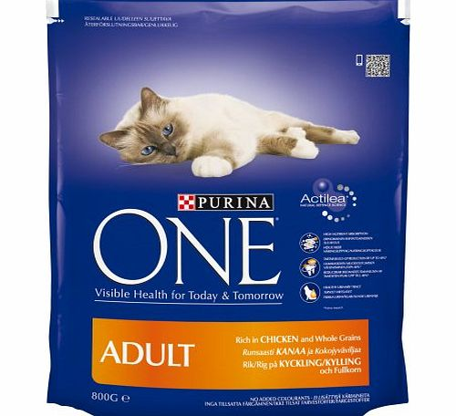 Purina ONE  Adult Chicken and Whole Grains 800 g, Pack of 4