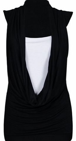 Purple Hanger New Womens Cowl Gathered Neckline Contrast Insert Ladies Sleeveless Stretch Long Vest T-Shirt Top Black Size 16 - 18