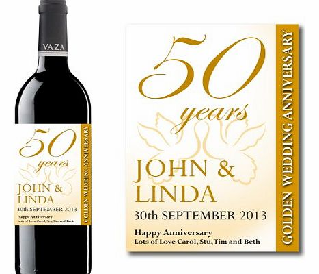 Personalised 50th Golden Wedding Anniversary Wine Label Gift