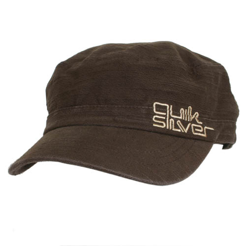Mens Quiksilver Party Wave Military Cap Dark Brown