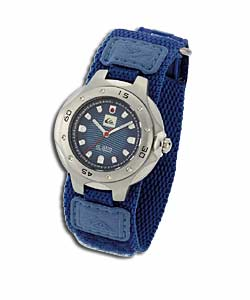 Youths Blue Pattern Fast Strap Watch