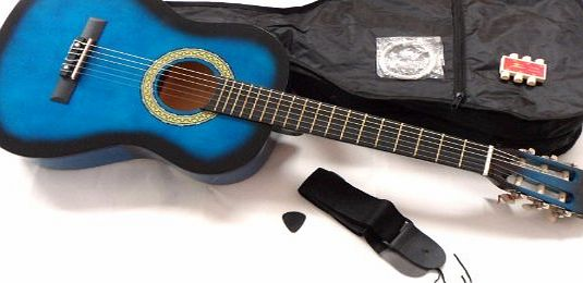 RayGar 1/2 blue acoustic guitar pack for kids beginners - suit 6 to 8 years - inc bag, strap, picks, pitch pipes and guitar tutor dvd