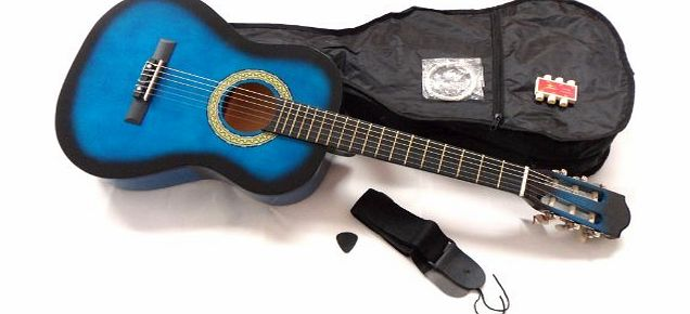RayGar Ltd. 3/4 Size BLUEBURST classical guitar pack for kids beginners- suit 9 to 12 years - inc bag, strap, picks, pitch pipes and guitar tutor dvd.