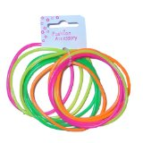 12 Assorted Bangles Colour Neon Gummie Bracelets
