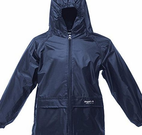 CHILDS REGATTA STORMBREAK WATERPROOF JACKET KIDS BOYS GIRLS CHILDRENS RAIN COAT IN BLACK OR NAVY BLUE (11-12 Years, Navy Blue)