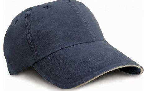 Washed Fine Line Cotton Baseball Cap With Sandwich Peak (One Size) (Navy/Putty)