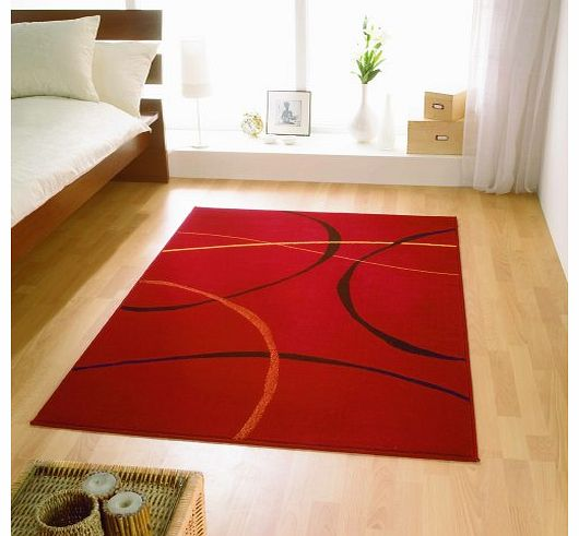 Contemporary Cheap Modern Retro Red Black Rugs 4 SIZES AVAILABLE, 160x225cm (5ft6 x7ft5)